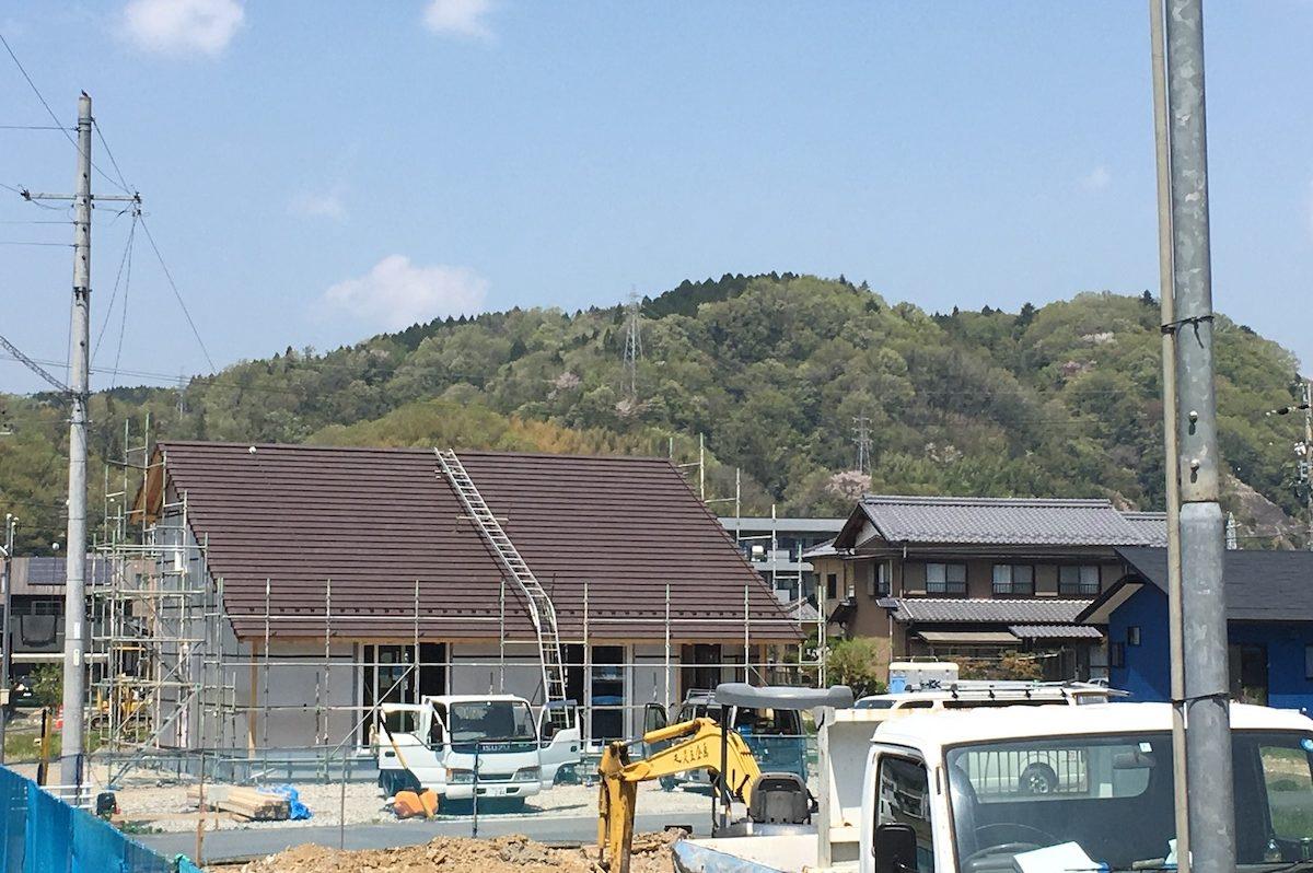 施工中の屋根